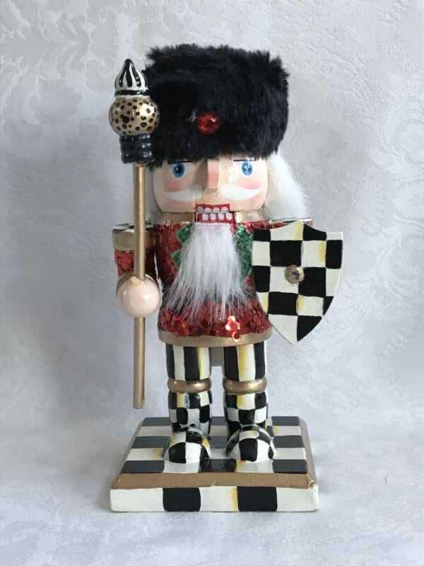 Mackenzie Childs Inspired Hand Painted Courtly Check Nutcracker #1 NEW