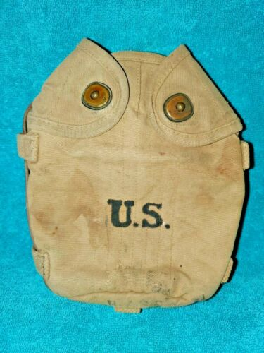 WWI ORIGINAL US ARMY MOUNTED CAVALRY CANTEEN COVER WITH LEATHER STRAP 1917 LONG