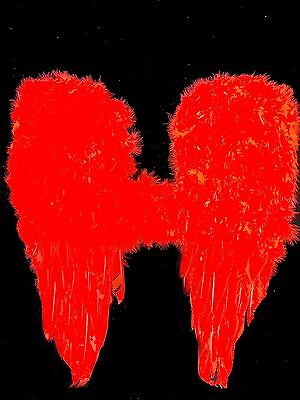 Damen Mädchen FLÜGEL rot zB Kostüm Engel Teufel 30 x 45cm Engelsflügel Halloween