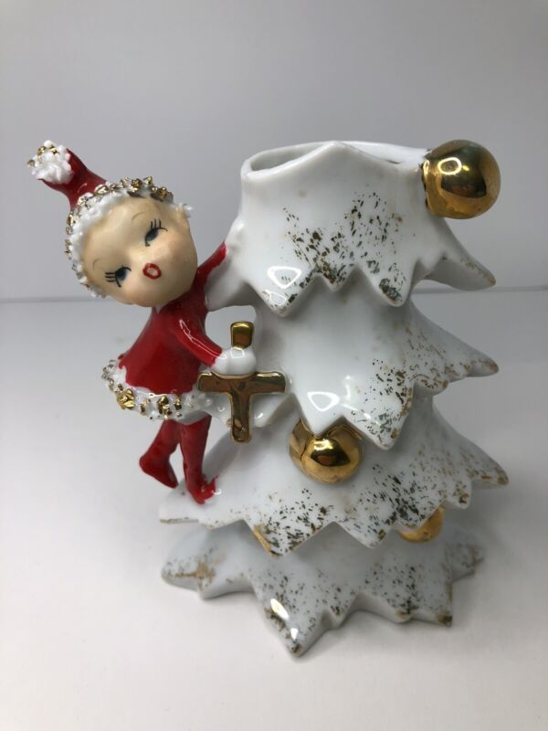 Ucagco Christmas Figurine Planter/Vase Pixie/ Elf Holding Cross Japan