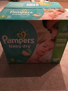 Pampers baby dry diapers size 1 --252 count