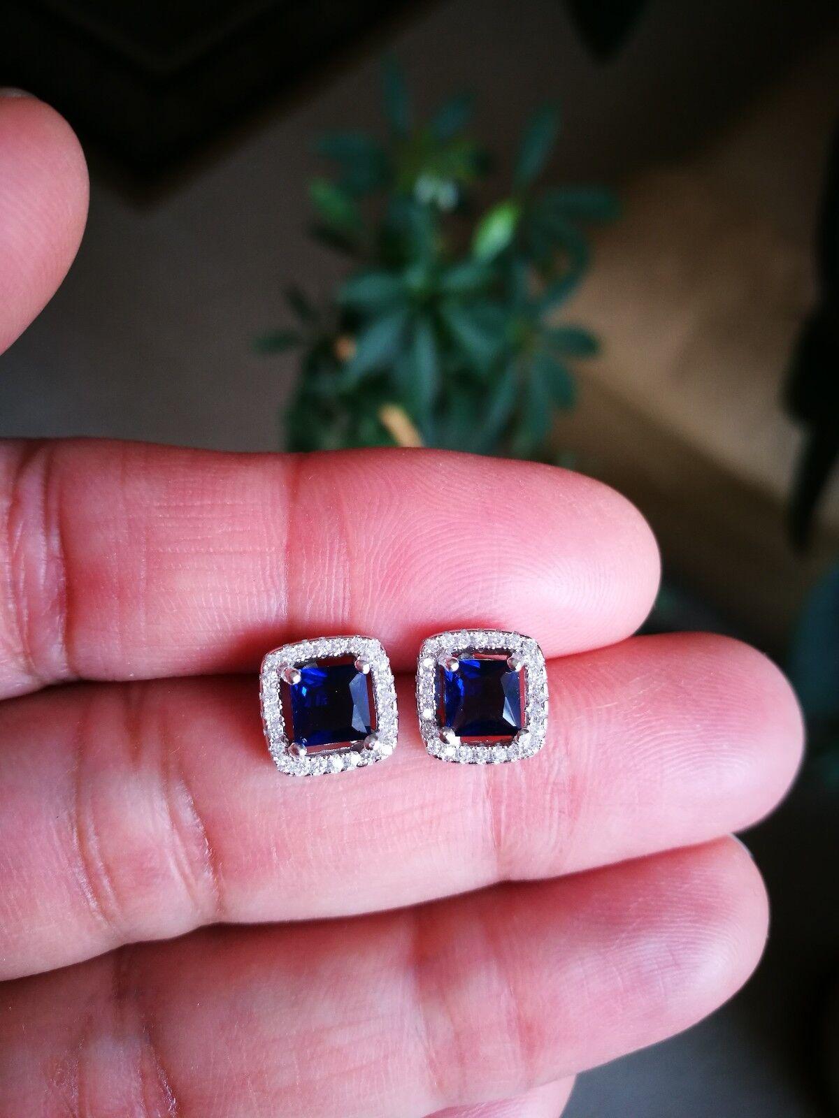 2 Ct Diamond Halo Stud Earrings with Blue Sapphire Women's Studs 14K White Gold 1