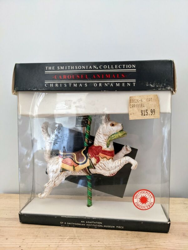 Kurt Adler cat with fish Carousel Animal Ornament Smithsonian Collection 1988