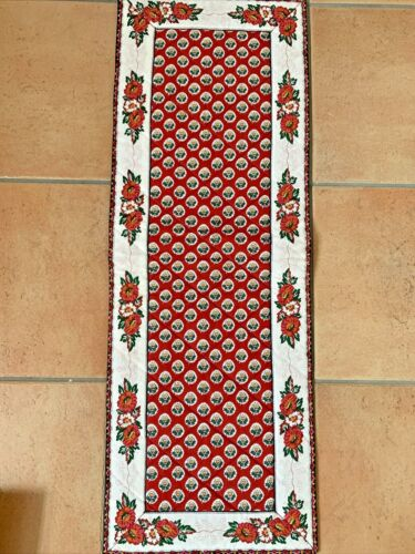 Vintage Pierre Deux French Provencal Quilted Table Runner RED WHITE SOULEIADO