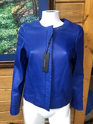 $3K VERSACE Collection BLUe EMBOSSED LEATHER JACKET SIZE 38 4 2
