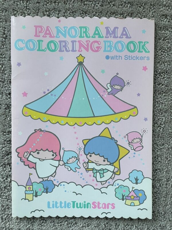 NEW Vintage Little Twin Stars Panorama Coloring Book with Stickers Sanrio