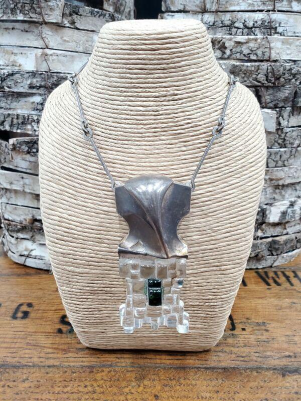 Bjorn Weckstrom Lapponia Acrylic Sterling Necklace RARE