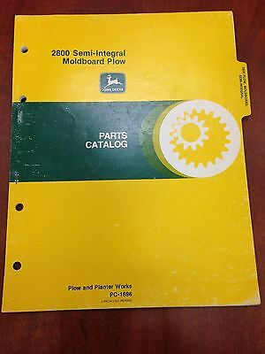 John Deere Parts Catalog 2800 Semi-integral Moldboard Plow Pc1696 Used