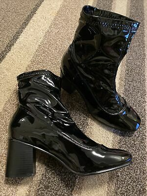 Ladies Ankle boots black Vinyl Heeled Boots Size 9 EEE Fetish Dominatrix