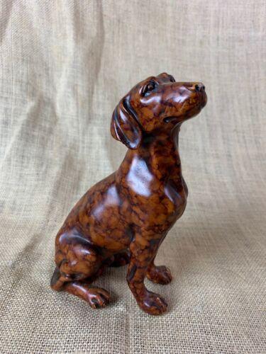 Brown Dachshund Burled Wood Resin Figurine Statue 7 x 4 x 3
