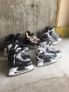 Various size hockey skates