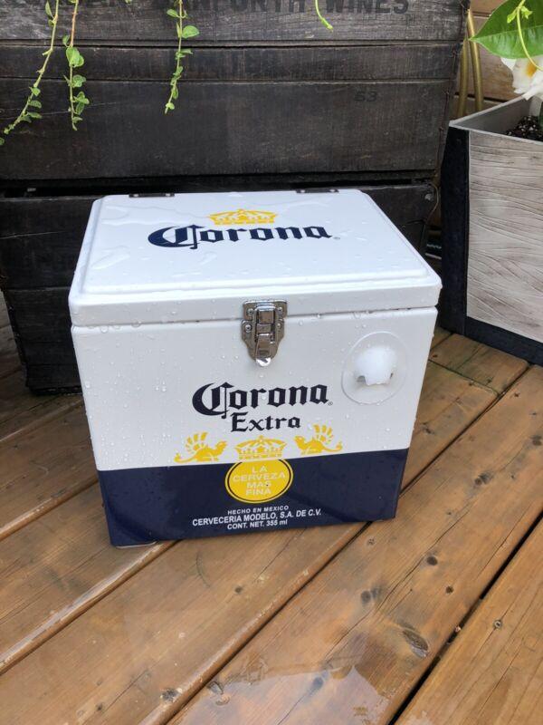 Corona metal coolerMetal Corona Beer Cooler. NEW. Stainless Steel. Vintage...
