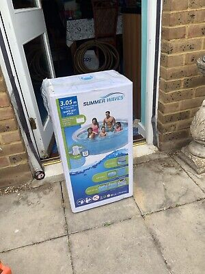 New Summer Waves 10ft (3.05 m) Quick Set Ring Pool + Water Filter Pump + Cover