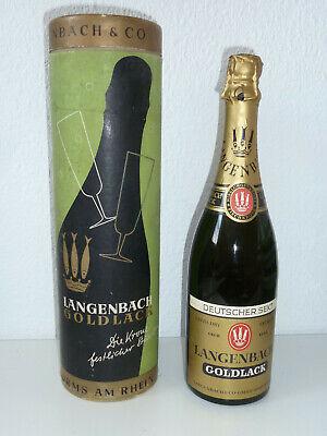 LANGENBACH GOLDLACK EXTRA DRY 1961 / 1962 Fischkrone 1L Sekt alt Sammler Rar