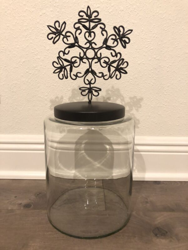 Pottery Barn Glass Jar Canister with Snowflake Topper Large Winter