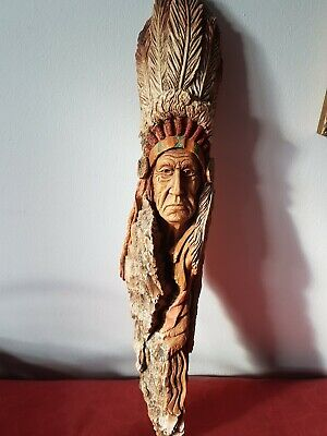 Ceramic PATRIARCH by  Stephen Herrero Vintage Carving Native American Art Signed