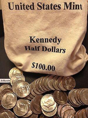 1971 - 2017 PD Kennedy Half Dollar 100 Coin Lot 2x Silver 90% 40% +U.S. Mint Bag