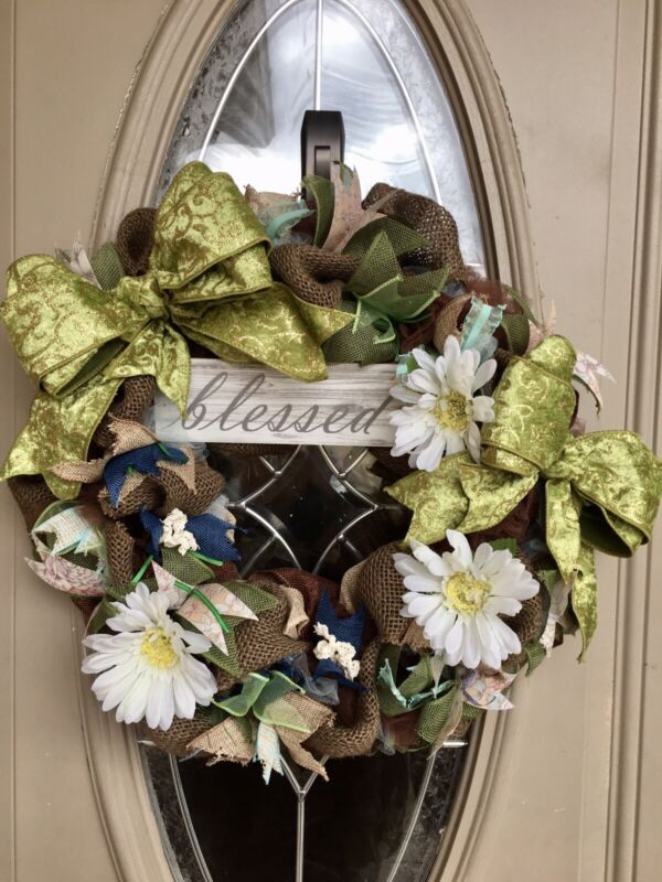 "Spring Wreath / Summer Wreath , ""Blessed"" sign / Handmade / Front Door Decor"