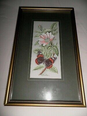 J&J CASH FRAMED WOVEN SILK  EMBROIDERY of a RED ADMIRAL BUTTERFLY