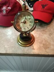 Qualite Boutte Imax Soren Nautical Themed Brass Table Clock and Compass
