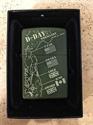 Genuine Zippo Lighter D-DAY Design MATTE GREEN Exclusive Limited Brand New