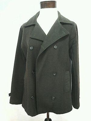 STUSSY Jacket Peacoat Military Army Olive Green Coat Wool Womens Medium M $160