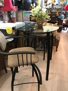 Bar height table with 2 swivel chairs(trail)