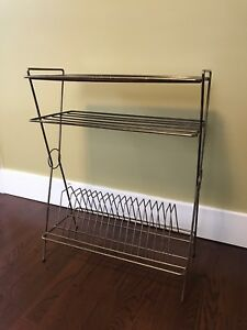 Mid-Century Modern Wire Record  Rack with Table