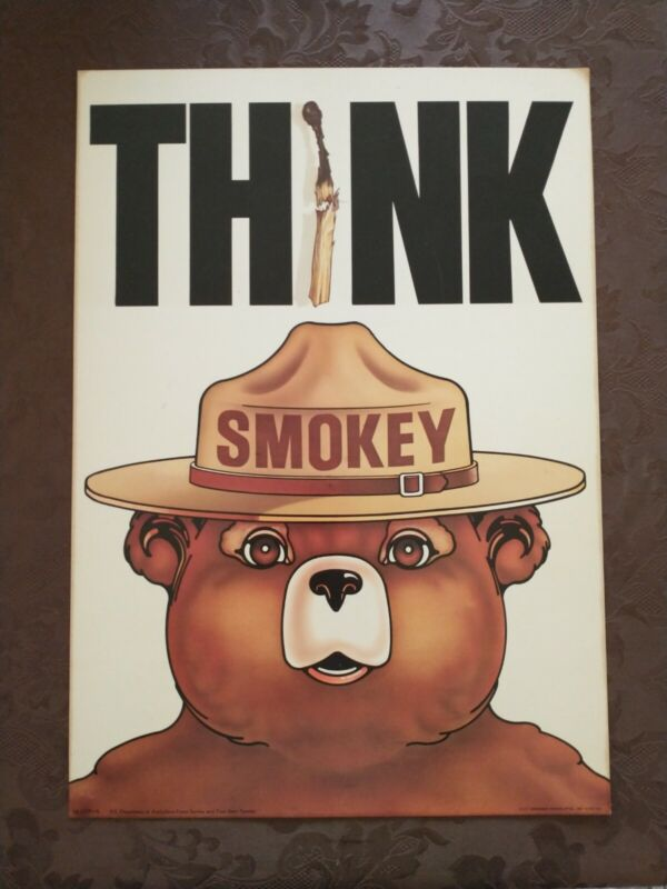 """Vintage SMOKEY THE BEAR  Poster 1974 USDA Forest Service 13""""x18.5 Think"""