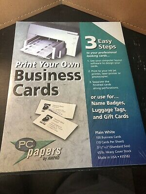 Print Your Own Business Cards By Pc Papers.  3 Easy Steps Plain White