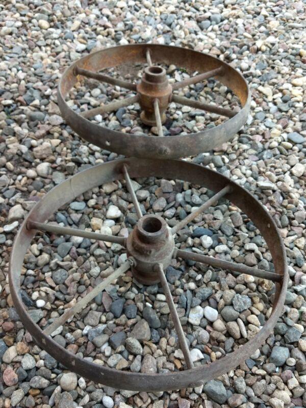 Vintage Cast Iron Wheels Industrial Factory Cart Table farm implemen Cart Wheels