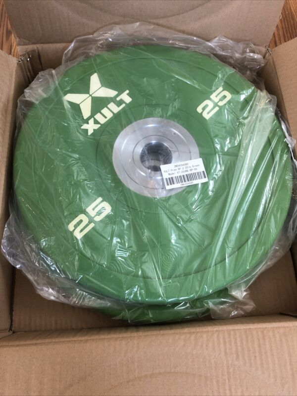 25lb XULT Premium Urethane Bumper Plates-green-sold In Pairs Of 2. Fast Shipping
