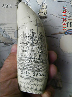 """Scrimshaw Sperm whale tooth resin replica """" SUSAN"""" 6 inches long VERY DETAILED"""