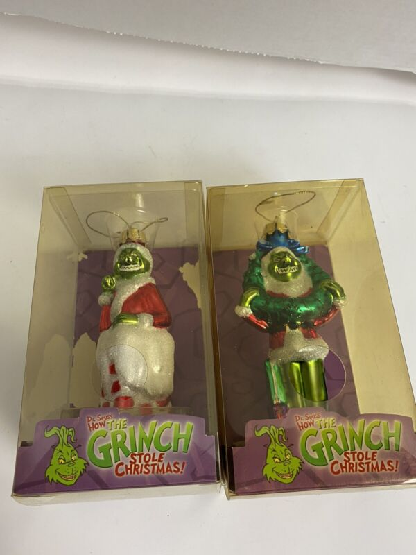 Brass Key How The Grinch Stole Christmas: Two Grinch Glass Ornaments 2004