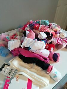 Girls SOCKS- 65 pairs + tights. Baby -3T.
