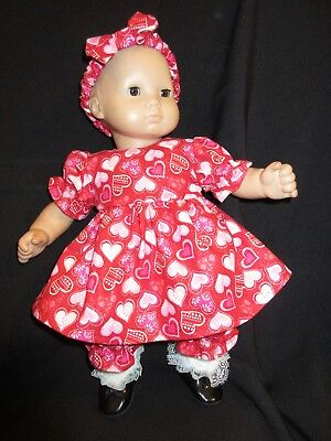 Debs MATCHING RED BLACK Dress /& Romper Doll Clothes For Bitty Baby Twins