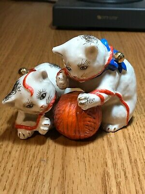 Vintage Ardalt Porcelain Asian China Kitty Cat Figurine with Ball of Orange Yarn