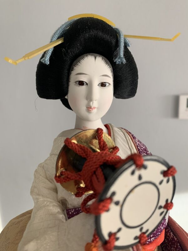 "vintage Japanese geisha doll  17"" Wood Base"