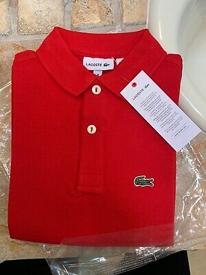 Lacoste Kids Boy's Red Classic Croc Logo Short Sleeve Polo Shirt Size 8 New
