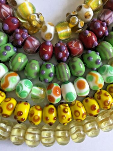 50 Handmade Lampwork Glass Rondelle Beads Assorted Colors Lot