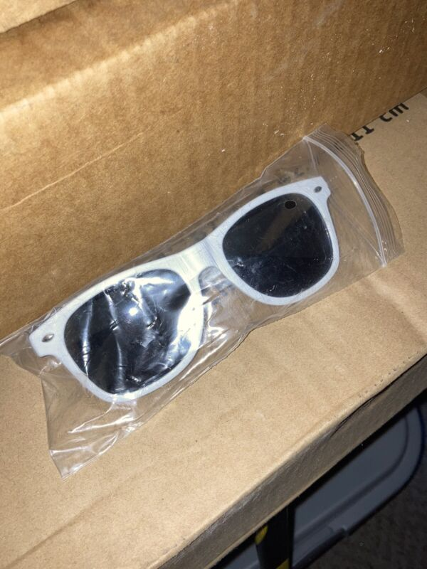 New Smirnoff Sunglasses Solid White With Red Logo Wayfarer Style