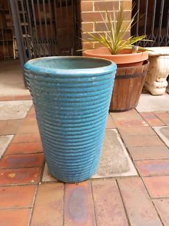 Outdoor glazed pot.