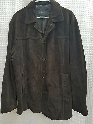 Express Leather Jacket Mens (Express Mens Size X Large Dark Brown Suede Leather)