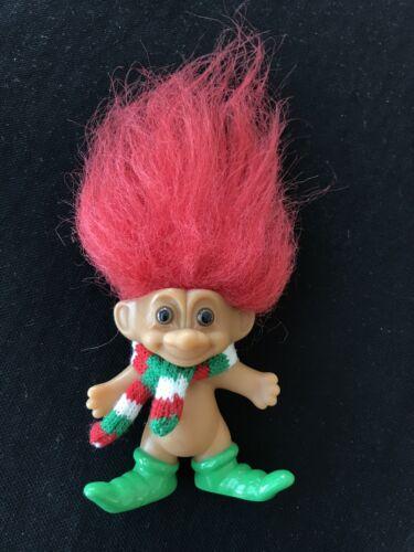 Russ Troll Doll Christmas Elf Red Hair Green Boots Scarf 3  - $6.99