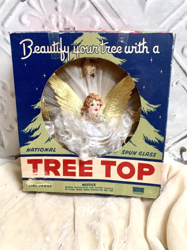 Vintage Angel Spun Christmas Xmas Tree Topper Holiday Decoration