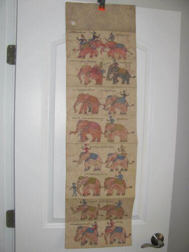 Antique / Vintage Thai Samut Khoi Paper Diagram / Book of Elephants
