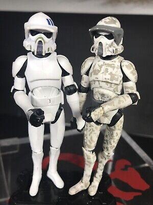 "Star Wars Lot Of 2 Jungle Camo ARF TROOPER And 501st 3.75"" CW24 Clone Wars TCW"