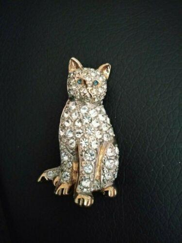 VINTAGE SIGNED CAROLEE GREEN EYED RHINESTONE KITTEN CAT BROOCH PIN free shipping