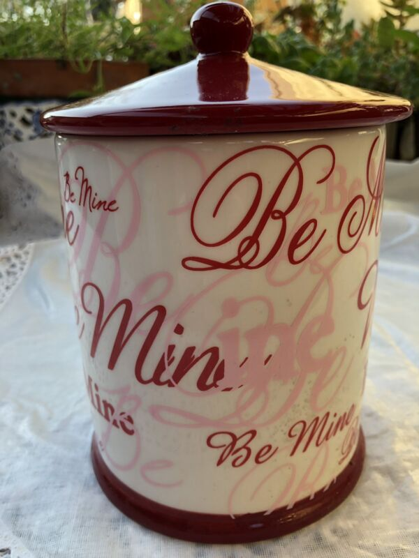 """Valentine's Day """"Be Mine"""" White Ceramic Canister With Lid BrN"""