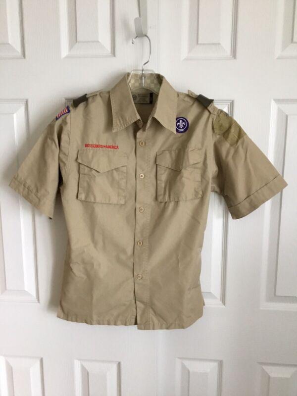 BSA Tan Short Sleeve Youth Uniform Shirt Size Youth Large